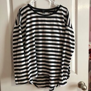 Black and white stripe shirt by forever 21 size L